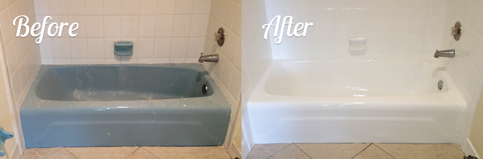 Blue Tub Before And After Irefinish Of Oregon Tub